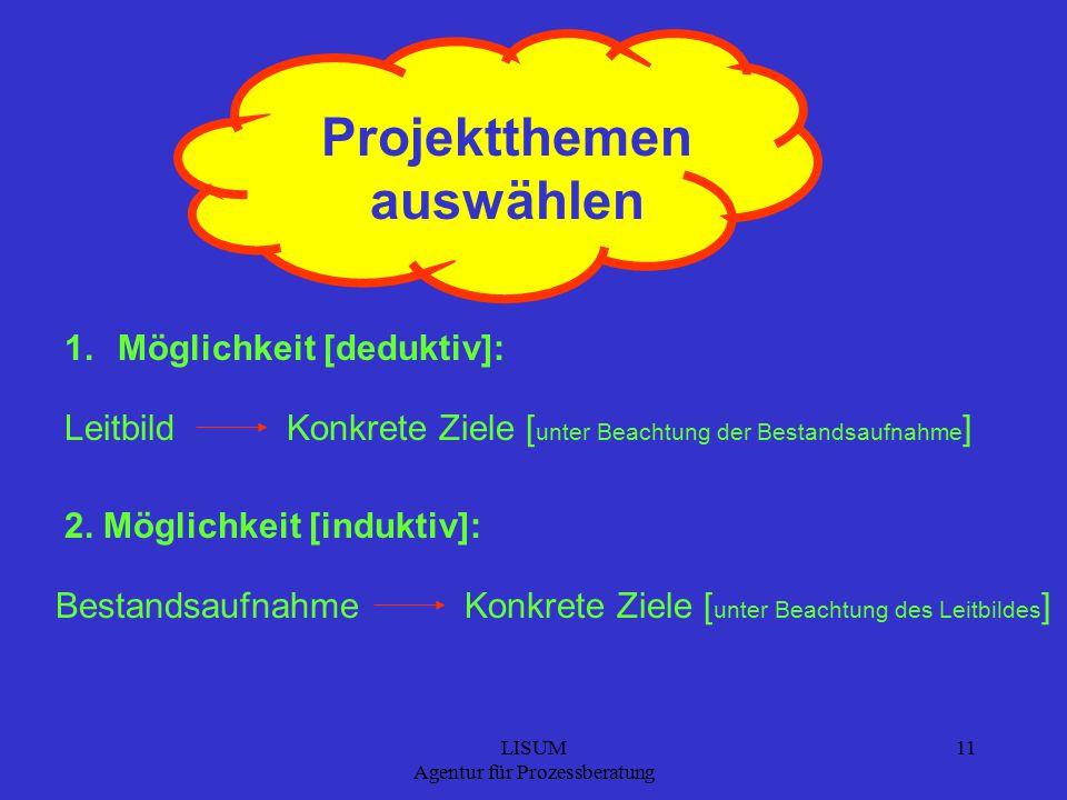 LISUM Agentur für Prozessberatung 11 Projektthemen auswählen 1.Möglichkeit [deduktiv]: 2.