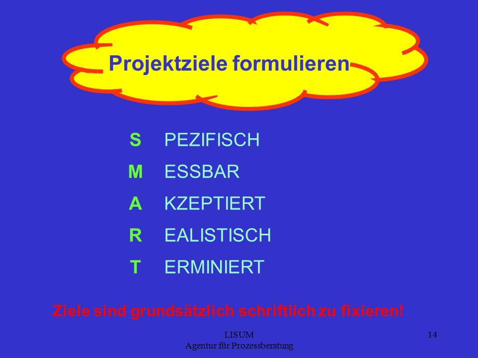 LISUM Agentur für Prozessberatung 14 Projektziele formulieren S M A R T PEZIFISCH ESSBAR KZEPTIERT EALISTISCH ERMINIERT Ziele sind grundsätzlich schriftlich zu fixieren!