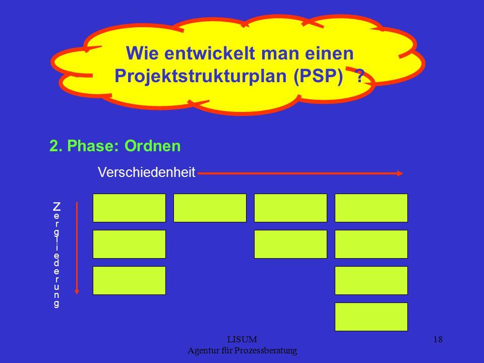LISUM Agentur für Prozessberatung 18 Wie entwickelt man einen Projektstrukturplan (PSP) .
