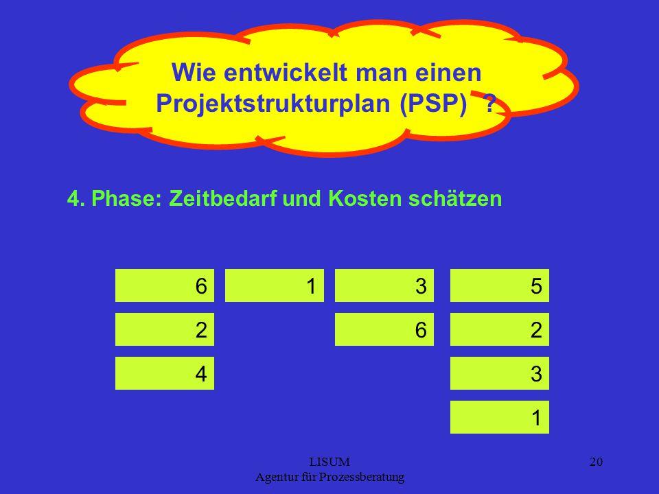 LISUM Agentur für Prozessberatung 20 Wie entwickelt man einen Projektstrukturplan (PSP) .