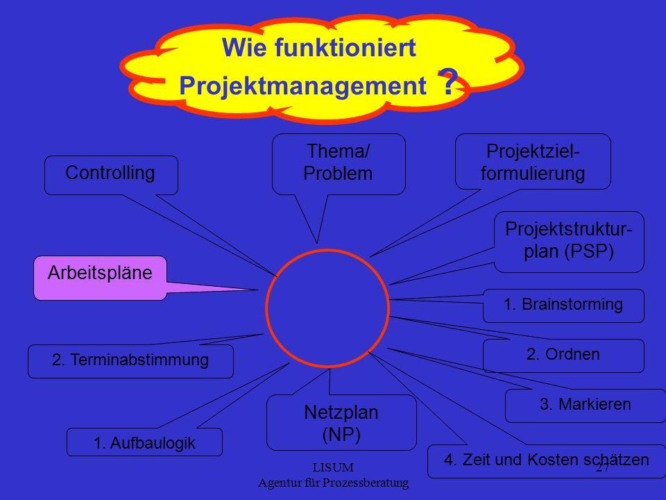 LISUM Agentur für Prozessberatung 27 Wie funktioniert Projektmanagement .