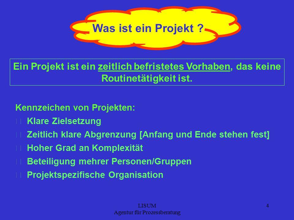 LISUM Agentur für Prozessberatung 4 Was ist ein Projekt .