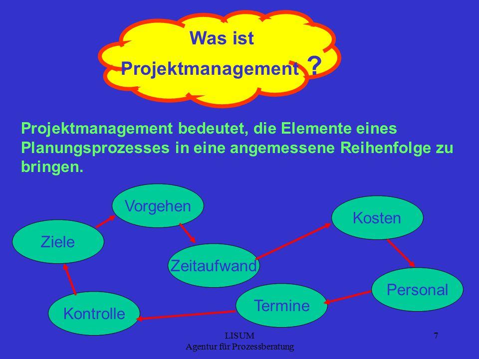 LISUM Agentur für Prozessberatung 7 Was ist Projektmanagement .