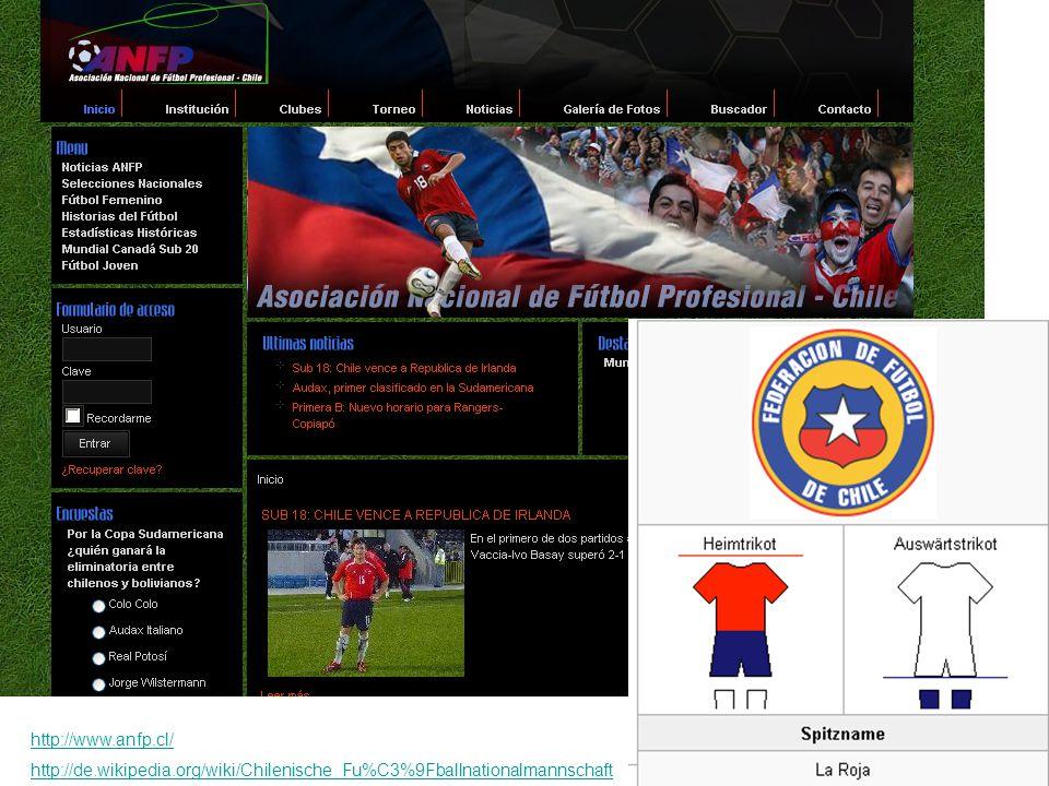 http://www.anfp.cl/ http://de.wikipedia.org/wiki/Chilenische_Fu%C3%9Fballnationalmannschaft