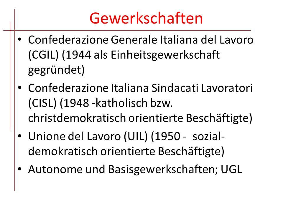 Gewerkschaftsmitglieder (2012) Aktive Beschäftigte Rentnerinsgesamt CGIL 2.716.5192.996.1235.712.642 CISL 2.328.0302.114.720 4.442.750 UIL 1.342.876863.305 2.206.181