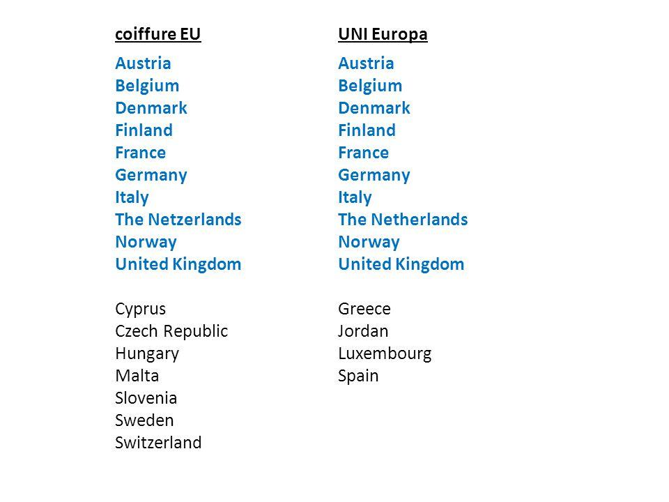 coiffure EUUNI Europa Austria Belgium Denmark Finland France Germany Italy The Netzerlands Norway United Kingdom Cyprus Czech Republic Hungary Malta S