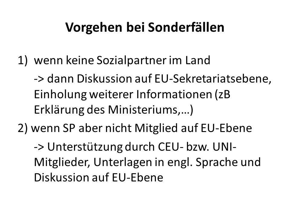 Vorgehen im Normalfall 1)Aussendung der Unterlagen an Mitgliedsstaaten (CEU und Uni Europe) 2)Bestätigung durch Sozialpartner der Länder an CEU/Uni 3)Anträge bzw.