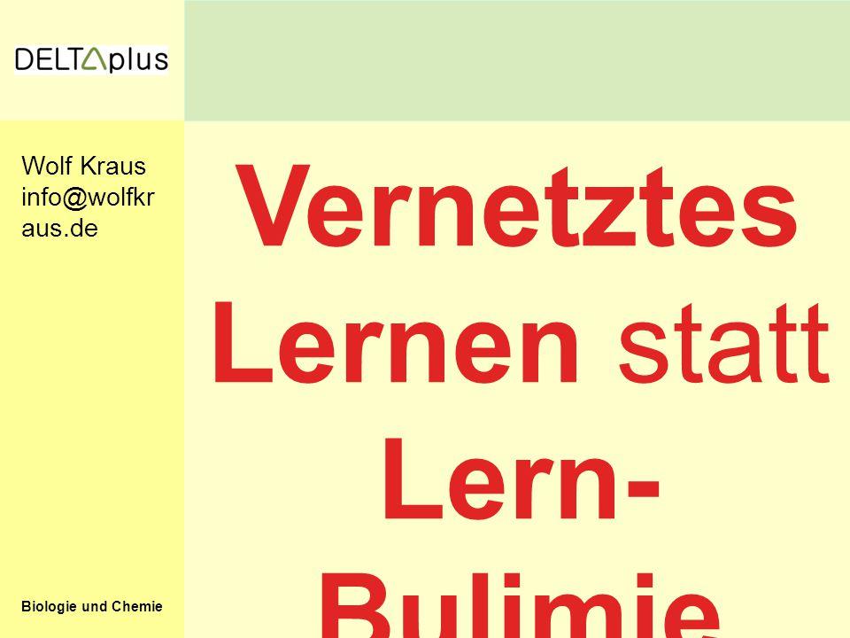 Biologie und Chemie Vernetztes Lernen statt Lern- Bulimie Wolf Kraus info@wolfkr aus.de