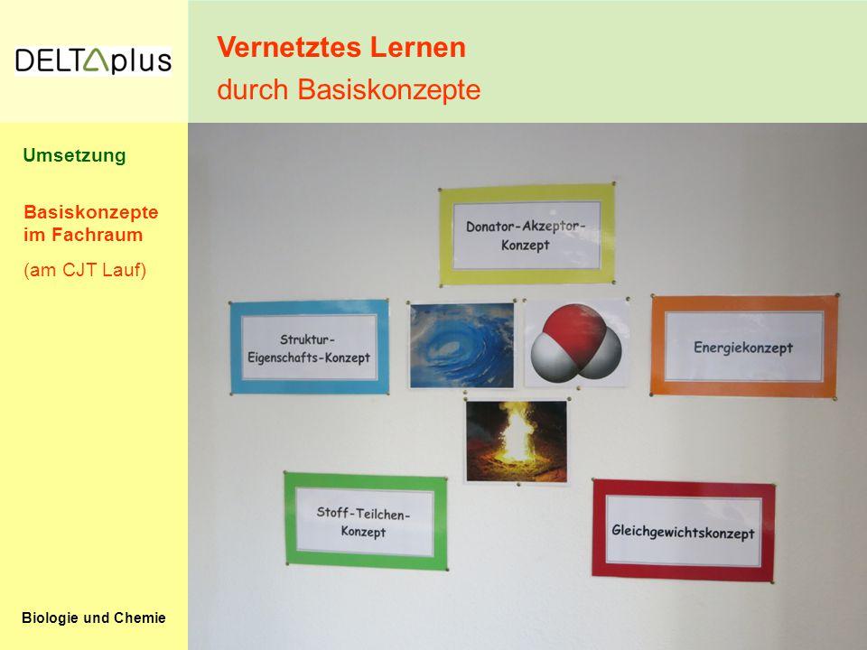 Biologie und Chemie Vernetztes Lernen durch Basiskonzepte Basiskonzepte im Fachraum (am CJT Lauf) Umsetzung
