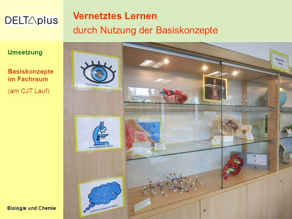Biologie und Chemie Basiskonzepte im Fachraum (am CJT Lauf) Vernetztes Lernen durch Nutzung der Basiskonzepte Umsetzung