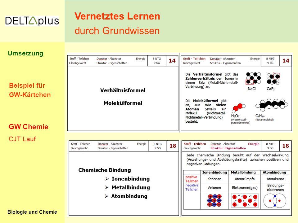 Biologie und Chemie Beispiel für GW-Kärtchen Vernetztes Lernen durch Grundwissen CJT Lauf GW Chemie Umsetzung