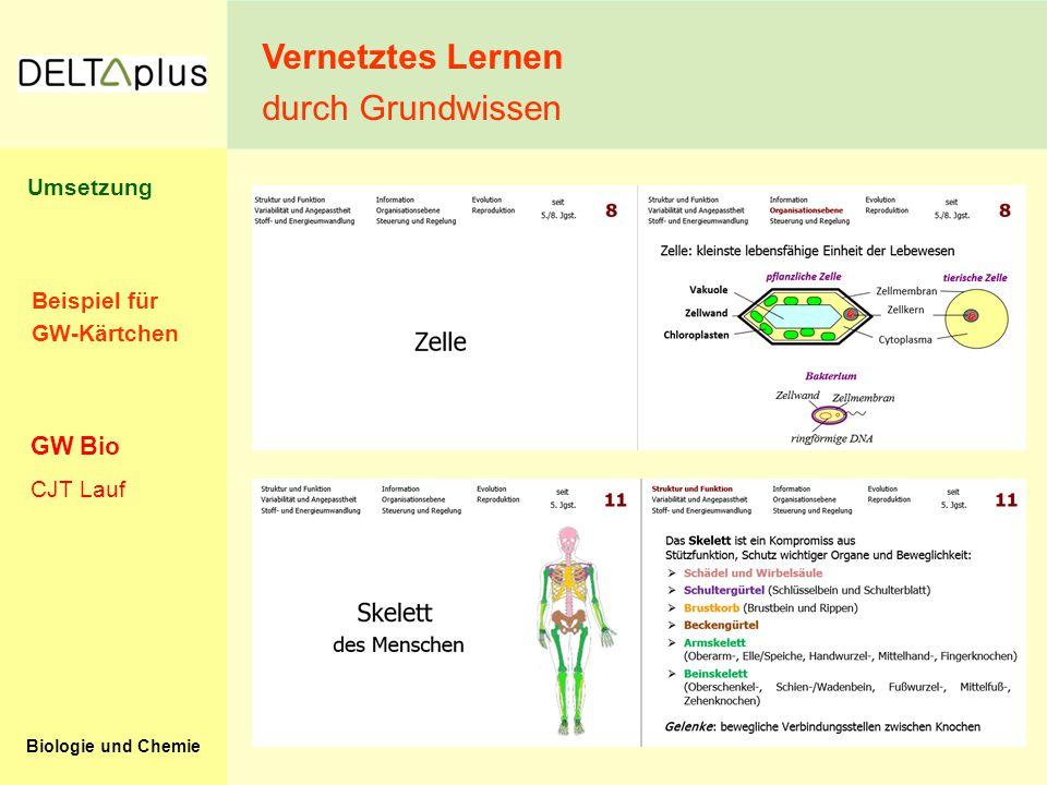 Biologie und Chemie Beispiel für GW-Kärtchen Vernetztes Lernen durch Grundwissen CJT Lauf GW Bio Umsetzung