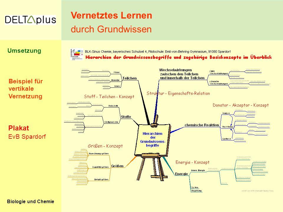 Biologie und Chemie Vernetztes Lernen durch Grundwissen EvB Spardorf Plakat Beispiel für vertikale Vernetzung Umsetzung