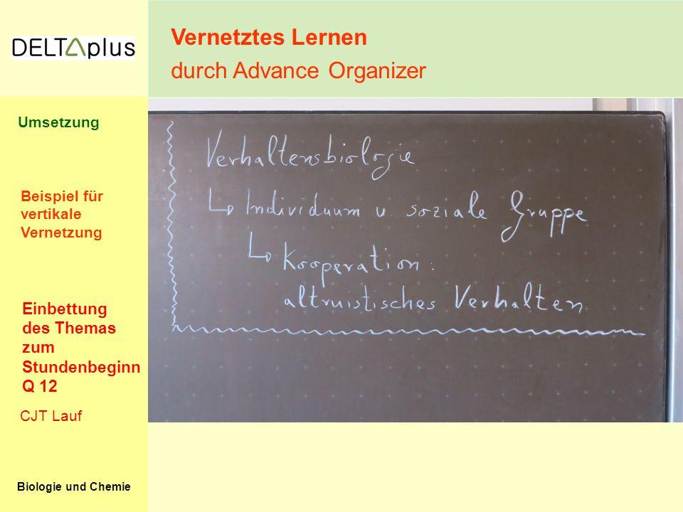 Biologie und Chemie Vernetztes Lernen durch Advance Organizer CJT Lauf Einbettung des Themas zum Stundenbeginn Q 12 Beispiel für vertikale Vernetzung