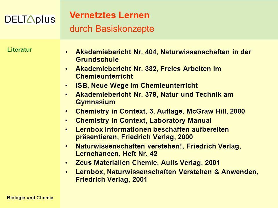 Biologie und Chemie Akademiebericht Nr. 404, Naturwissenschaften in der Grundschule Akademiebericht Nr. 332, Freies Arbeiten im Chemieunterricht ISB,