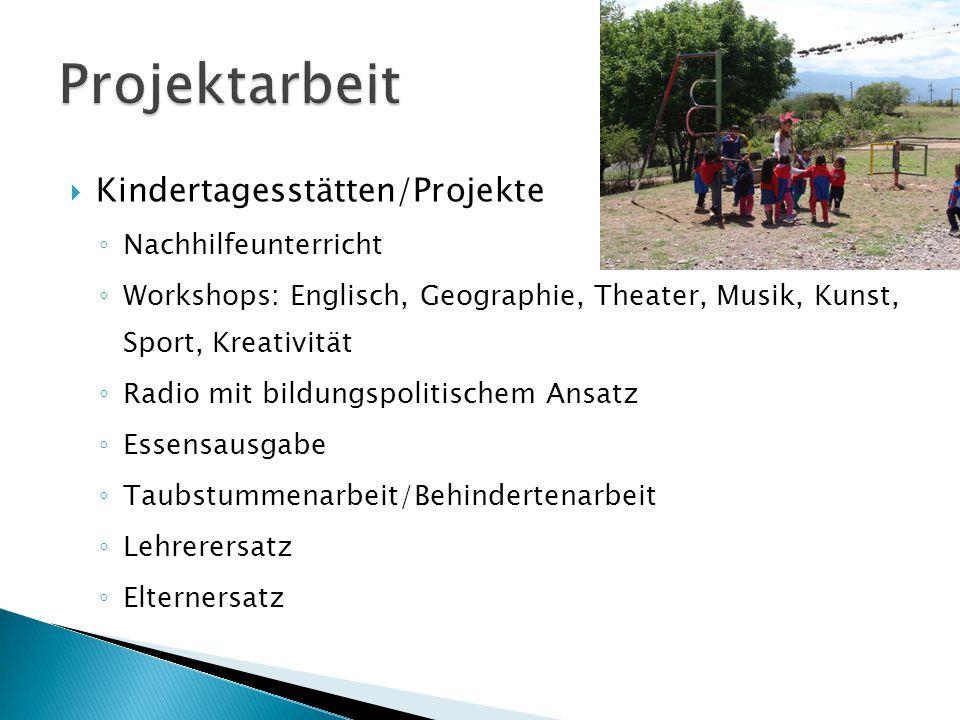  Kindertagesstätten/Projekte ◦ Nachhilfeunterricht ◦ Workshops: Englisch, Geographie, Theater, Musik, Kunst, Sport, Kreativität ◦ Radio mit bildungsp