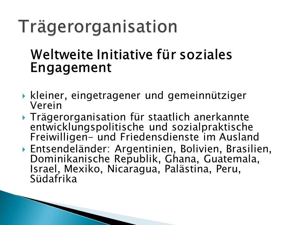 Weltweite Initiative für soziales Engagement  kleiner, eingetragener und gemeinnütziger Verein  Trägerorganisation für staatlich anerkannte entwickl