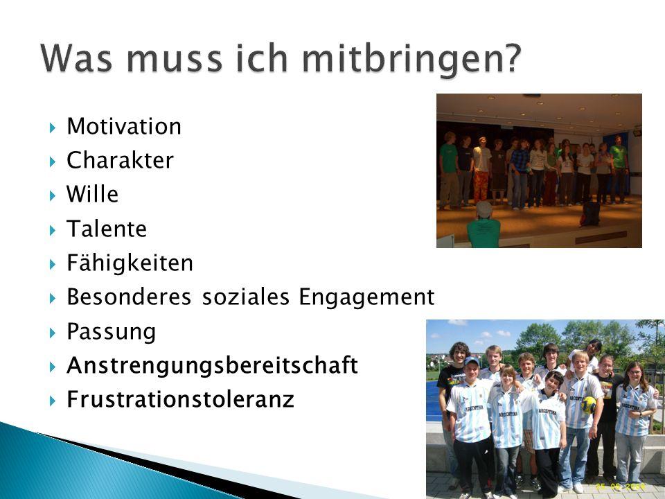  Motivation  Charakter  Wille  Talente  Fähigkeiten  Besonderes soziales Engagement  Passung  Anstrengungsbereitschaft  Frustrationstoleranz