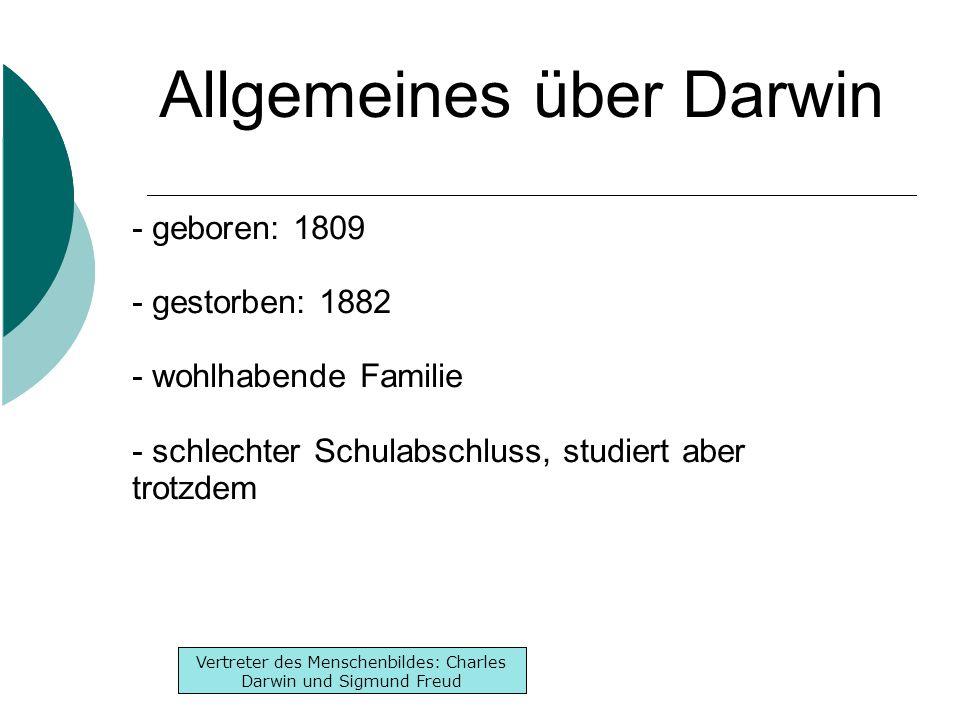 Inhaltsverzeichnis -Lebenslauf -Werke -Denken Inhaltsverzeichnis -Lebenslauf -Werke -Denken Vertreter des Menschenbildes: Charles Darwin und Sigmund Freud Werke