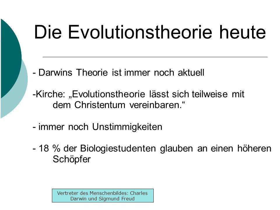 """Inhaltsverzeichnis -Lebenslauf -Werke -Denken Inhaltsverzeichnis -Lebenslauf -Werke -Denken Vertreter des Menschenbildes: Charles Darwin und Sigmund Freud - Darwins Theorie ist immer noch aktuell -Kirche: """"Evolutionstheorie lässt sich teilweise mit dem Christentum vereinbaren. - immer noch Unstimmigkeiten - 18 % der Biologiestudenten glauben an einen höheren Schöpfer Die Evolutionstheorie heute"""