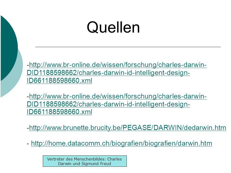 Inhaltsverzeichnis -Lebenslauf -Werke -Denken Inhaltsverzeichnis -Lebenslauf -Werke -Denken Vertreter des Menschenbildes: Charles Darwin und Sigmund Freud Quellen -http://www.br-online.de/wissen/forschung/charles-darwin- DID1188598662/charles-darwin-id-intelligent-design- ID661188598660.xmlhttp://www.br-online.de/wissen/forschung/charles-darwin- DID1188598662/charles-darwin-id-intelligent-design- ID661188598660.xml -http://www.br-online.de/wissen/forschung/charles-darwin- DID1188598662/charles-darwin-id-intelligent-design- ID661188598660.xmlhttp://www.br-online.de/wissen/forschung/charles-darwin- DID1188598662/charles-darwin-id-intelligent-design- ID661188598660.xml -http://www.brunette.brucity.be/PEGASE/DARWIN/dedarwin.htmhttp://www.brunette.brucity.be/PEGASE/DARWIN/dedarwin.htm - http://home.datacomm.ch/biografien/biografien/darwin.htmhttp://home.datacomm.ch/biografien/biografien/darwin.htm
