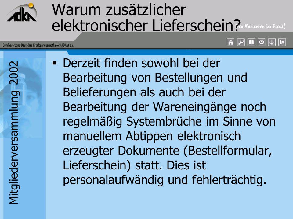 Mitgliederversammlung 2002 Warum zusätzlicher elektronischer Lieferschein?  Derzeit finden sowohl bei der Bearbeitung von Bestellungen und Belieferun