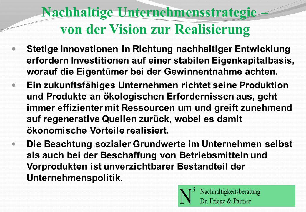 Nachhaltige Unternehmensstrategie – von der Vision zur Realisierung Stetige Innovationen in Richtung nachhaltiger Entwicklung erfordern Investitionen