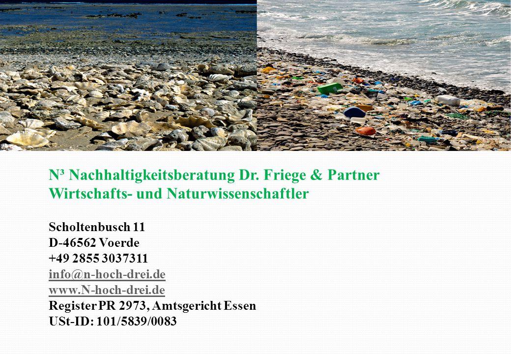 N³ Nachhaltigkeitsberatung Dr. Friege & Partner Wirtschafts- und Naturwissenschaftler Scholtenbusch 11 D-46562 Voerde +49 2855 3037311 info@n-hoch-dre