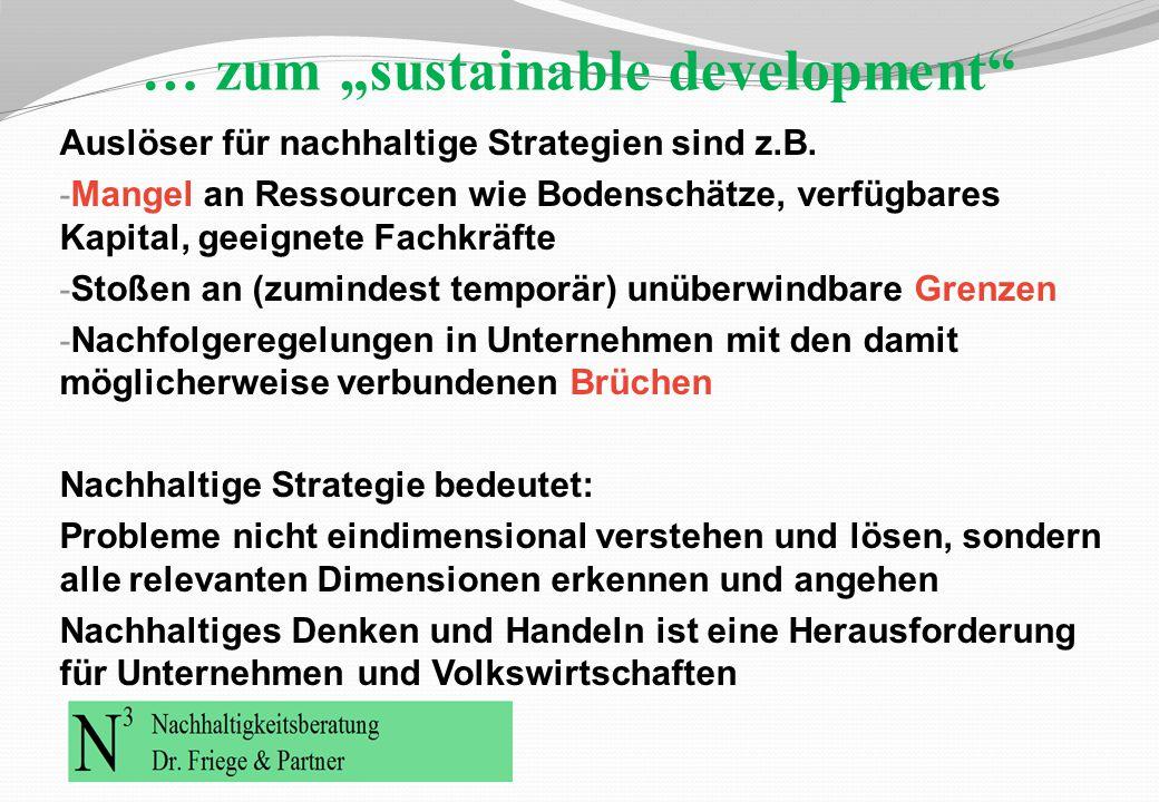 """… zum """"sustainable development"""" Auslöser für nachhaltige Strategien sind z.B. - Mangel an Ressourcen wie Bodenschätze, verfügbares Kapital, geeignete"""