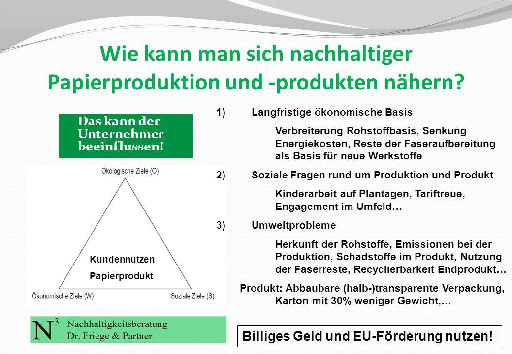 Wie kann man sich nachhaltiger Papierproduktion und -produkten nähern? Das kann der Unternehmer beeinflussen! Kundennutzen Papierprodukt 1)Langfristig