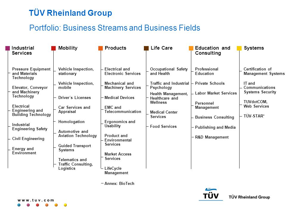 w w w. t u v. c o m Portfolio: Business Streams and Business Fields TÜV Rheinland Group Certification of Management Systems IT and Communications Syst