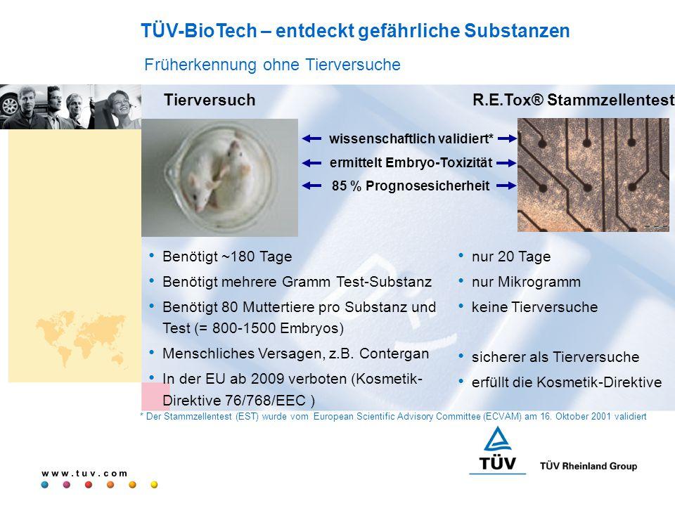 w w w. t u v. c o m wissenschaftlich validiert* ermittelt Embryo-Toxizität 85 % Prognosesicherheit TierversuchR.E.Tox® Stammzellentest nur 20 Tage nur