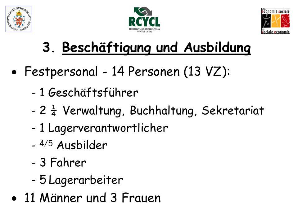 3. Beschäftigung und Ausbildung - 14 Arbeitnehmer und 20 Praktikanten - Regelmäßige Ausbildungen (B und C-Führerschein, Gabelstapler, Sprachen, Inform