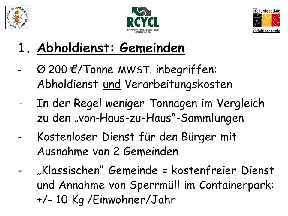 1.Abhol- und Annahmedienst: Gemeinden - 4 LKW (1x3.5 T et 3x7.5T) - Vorteile Ganzjähriger Dienst Termine auf Anruf / Kurze Wartezeiten Einfache und ef