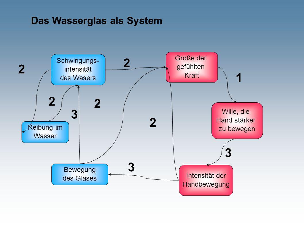 Das Wasserglas als System Schwingungs- intensität des Wasers Bewegung des Glases Größe der gefühlten Kraft Wille, die Hand stärker zu bewegen Intensität der Handbewegung Reibung im Wasser 2 2 3 2 2 2 3 1 3