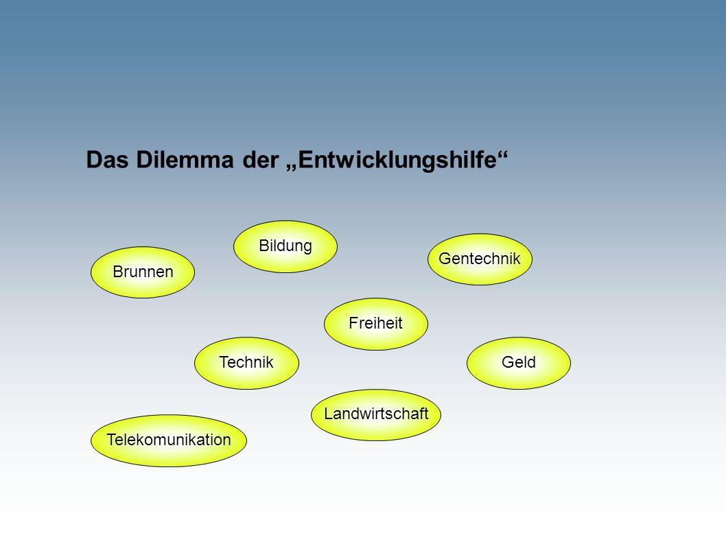 """Das Dilemma der """"Entwicklungshilfe"""" Brunnen Bildung Technik Freiheit Landwirtschaft Telekomunikation Gentechnik Geld"""