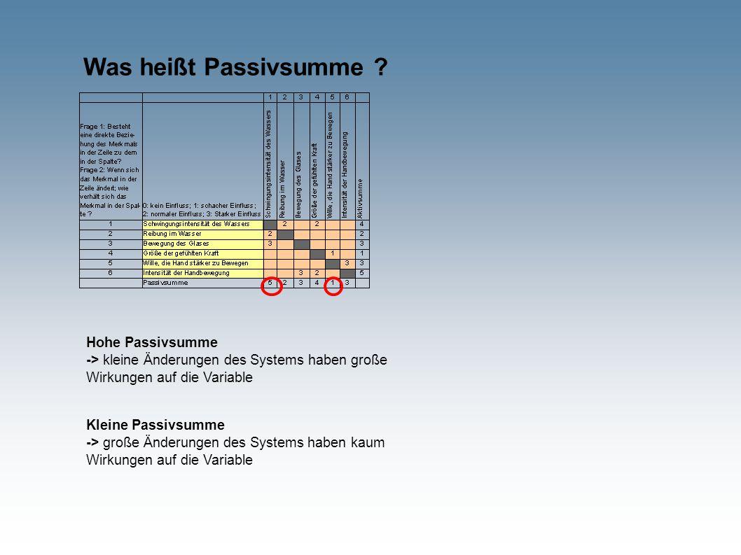 Was heißt Passivsumme ? Hohe Passivsumme -> kleine Änderungen des Systems haben große Wirkungen auf die Variable Kleine Passivsumme -> große Änderunge
