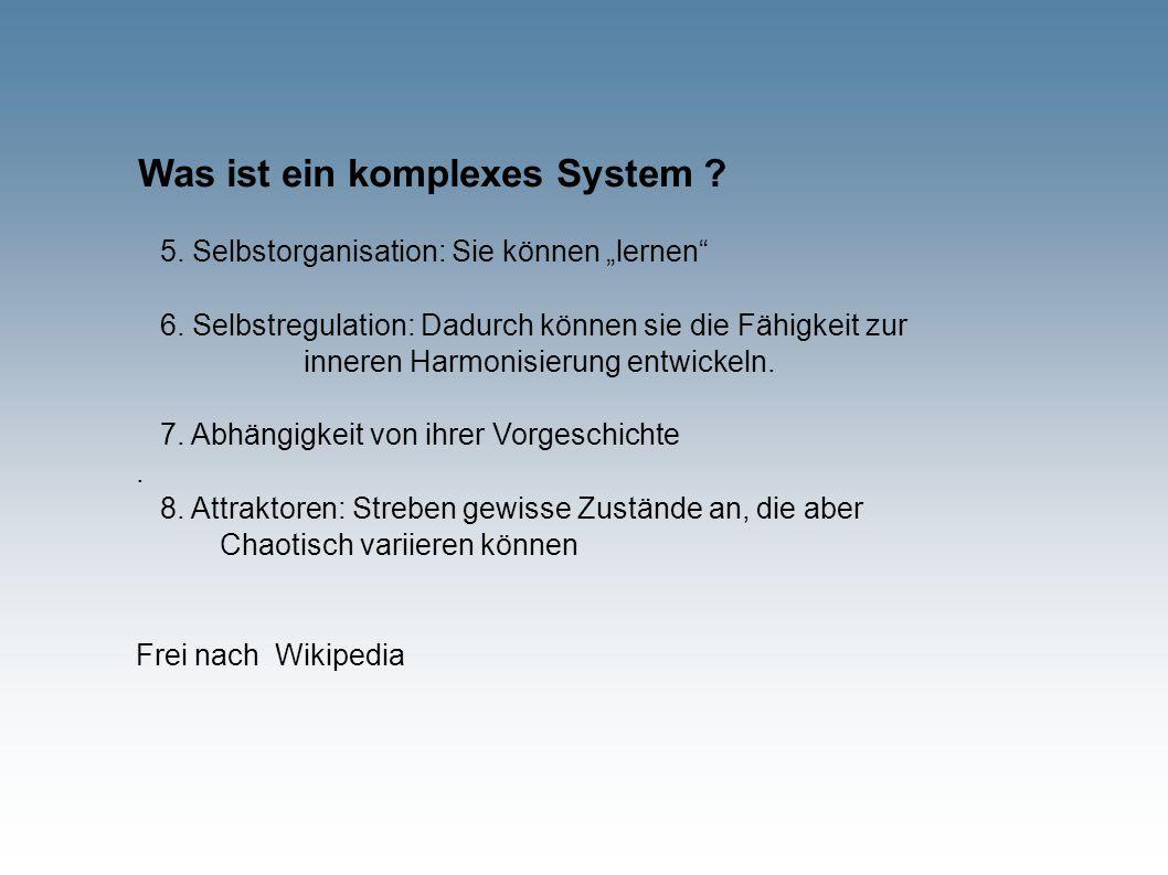 """Was ist ein komplexes System ? 5. Selbstorganisation: Sie können """"lernen"""" 6. Selbstregulation: Dadurch können sie die Fähigkeit zur inneren Harmonisie"""