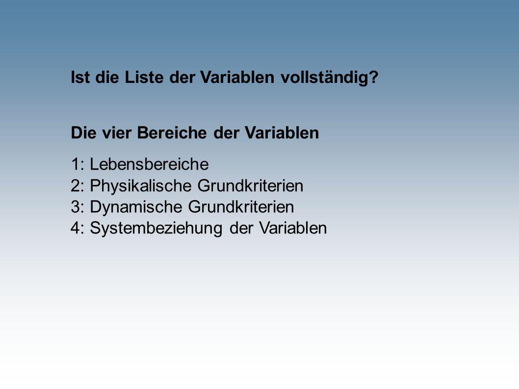Ist die Liste der Variablen vollständig? Die vier Bereiche der Variablen 1: Lebensbereiche 2: Physikalische Grundkriterien 3: Dynamische Grundkriterie