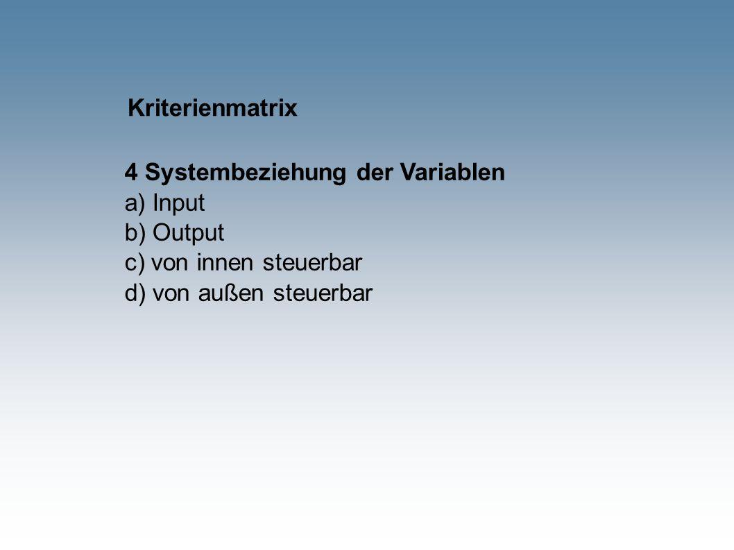Kriterienmatrix 4 Systembeziehung der Variablen a) Input b) Output c) von innen steuerbar d) von außen steuerbar