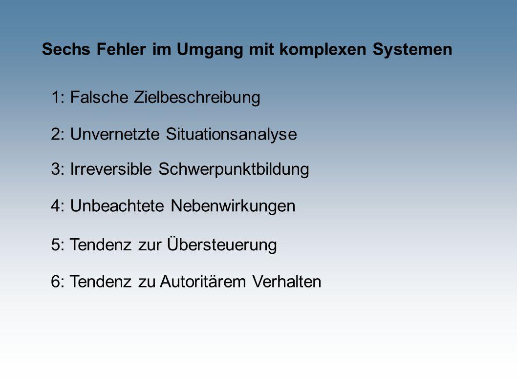 Sechs Fehler im Umgang mit komplexen Systemen 1: Falsche Zielbeschreibung 4: Unbeachtete Nebenwirkungen 6: Tendenz zu Autoritärem Verhalten 2: Unverne