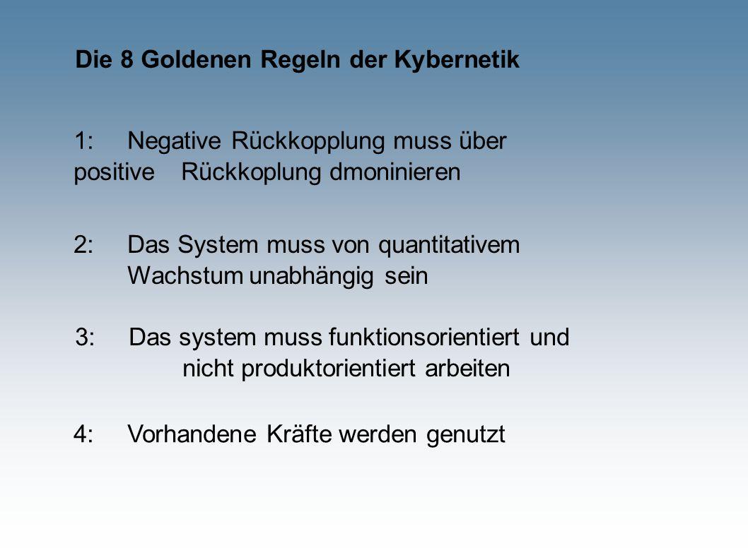 Die 8 Goldenen Regeln der Kybernetik 1:Negative Rückkopplung muss über positive Rückkoplung dmoninieren 4:Vorhandene Kräfte werden genutzt 2:Das System muss von quantitativem Wachstum unabhängig sein 3:Das system muss funktionsorientiert und nicht produktorientiert arbeiten