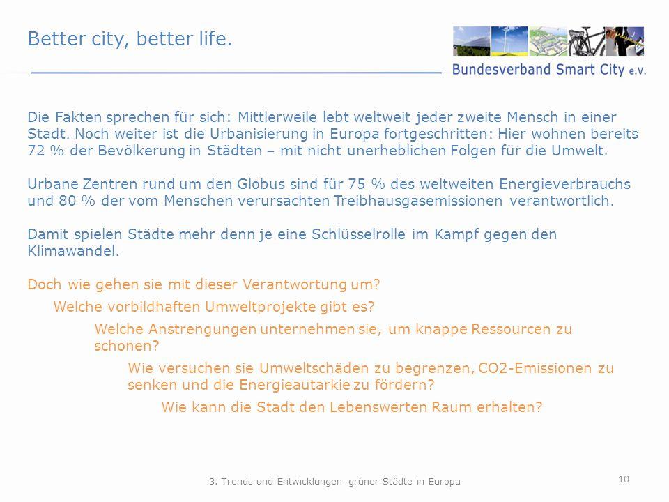 Better city, better life. 10 3. Trends und Entwicklungen grüner Städte in Europa Die Fakten sprechen für sich: Mittlerweile lebt weltweit jeder zweite