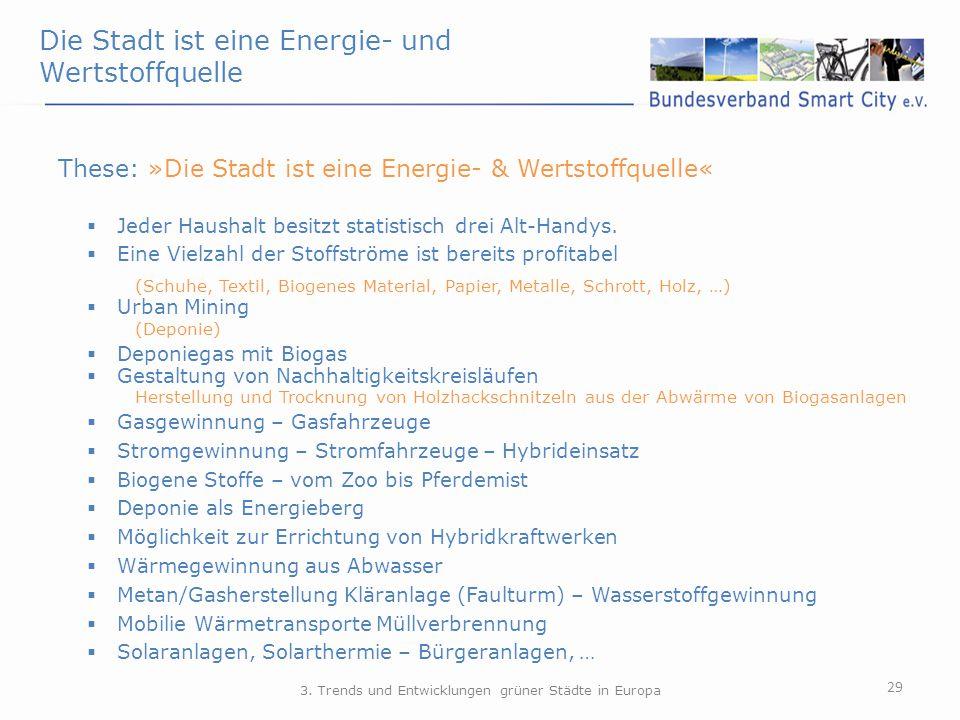 Die Stadt ist eine Energie- und Wertstoffquelle 29 These: »Die Stadt ist eine Energie- & Wertstoffquelle«  Jeder Haushalt besitzt statistisch drei Al