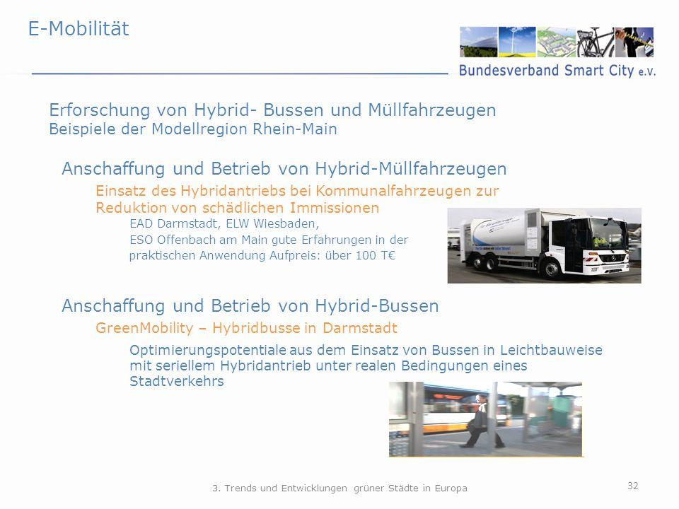 E-Mobilität 32 Erforschung von Hybrid- Bussen und Müllfahrzeugen Beispiele der Modellregion Rhein-Main Anschaffung und Betrieb von Hybrid-Müllfahrzeug