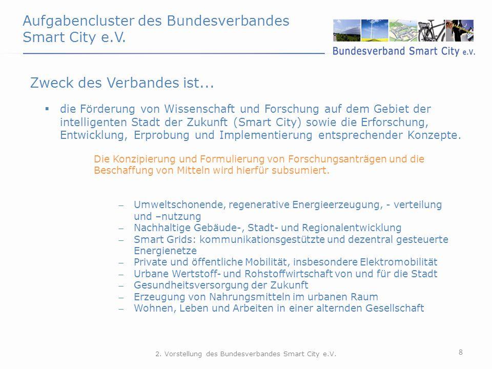 Aufgabencluster des Bundesverbandes Smart City e.V. 8 Zweck des Verbandes ist...  die Förderung von Wissenschaft und Forschung auf dem Gebiet der int