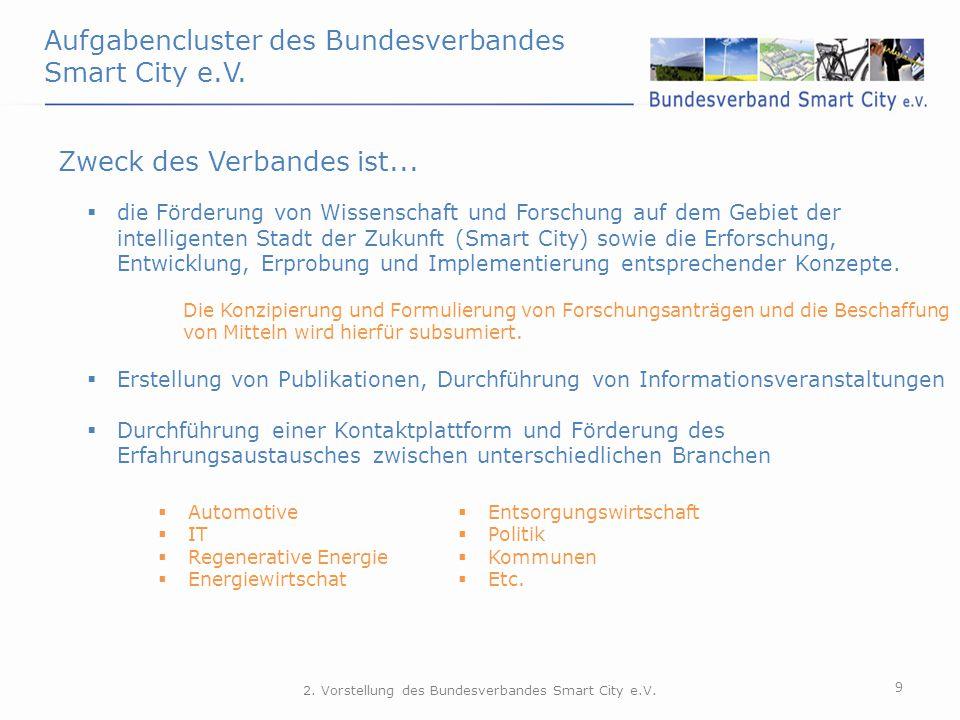 Aufgabencluster des Bundesverbandes Smart City e.V. 9 Zweck des Verbandes ist...  die Förderung von Wissenschaft und Forschung auf dem Gebiet der int