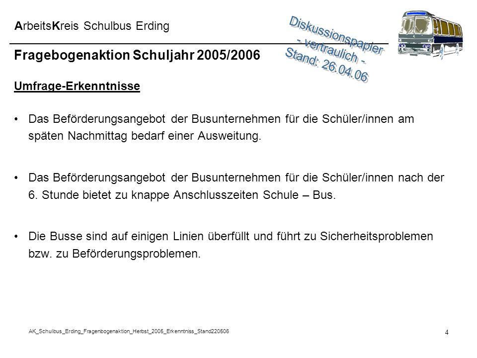AK_Schulbus_Erding_Fragenbogenaktion_Herbst_2005_Erkenntniss_Stand220506 4 ArbeitsKreis Schulbus Erding Fragebogenaktion Schuljahr 2005/2006 Umfrage-E