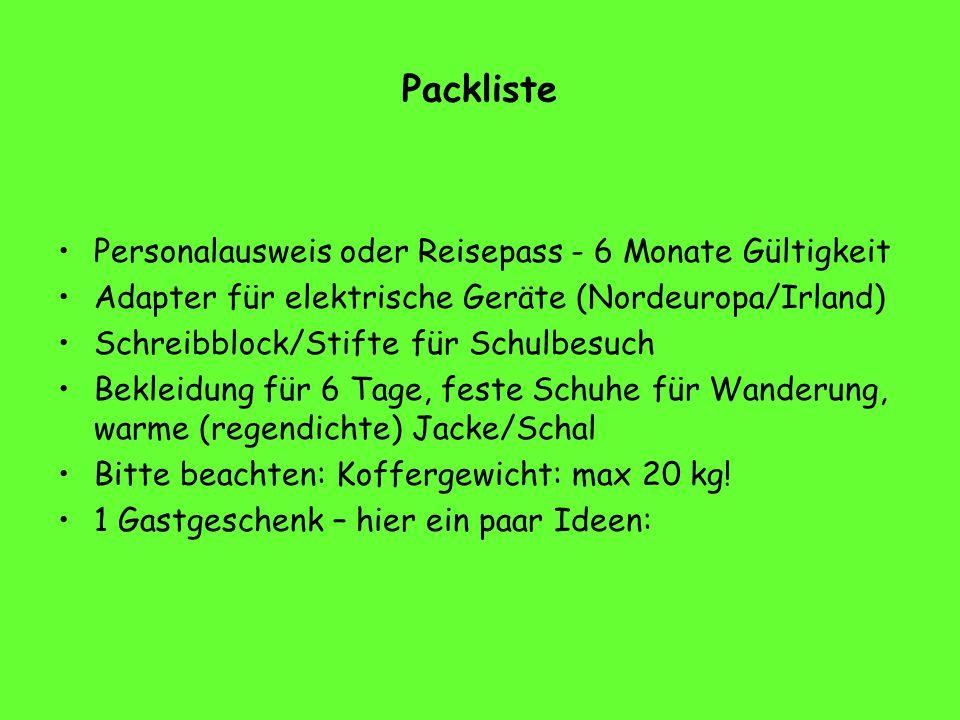 Packliste Personalausweis oder Reisepass - 6 Monate Gültigkeit Adapter für elektrische Geräte (Nordeuropa/Irland) Schreibblock/Stifte für Schulbesuch