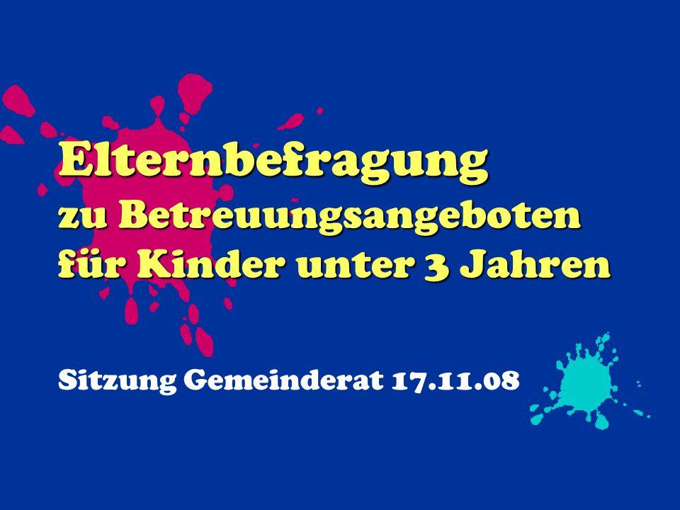 Elternbefragung zu Betreuungsangeboten für Kinder unter 3 Jahren Sitzung Gemeinderat 17.11.08